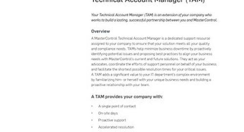 MasterControl Technical Account Manager (TAM) Program