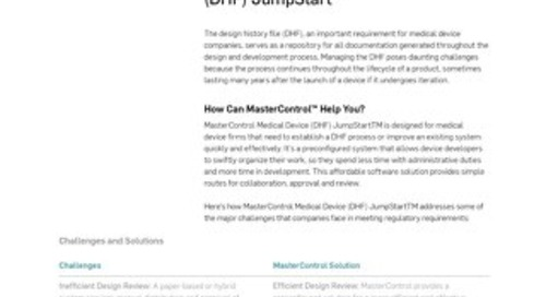 MasterControl Medical Device (DHF) JumpStart™