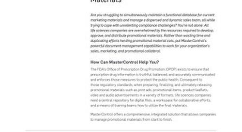 MasterControl Promotional Materials™