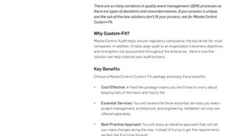 MasterControl Custom-Fit
