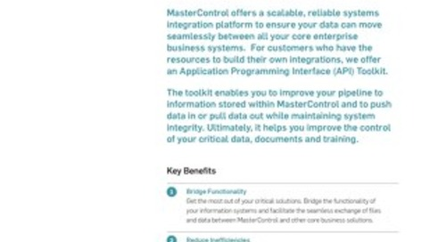 MasterControl API Toolkit: Integrate Your EQMS with Core Business Solutions