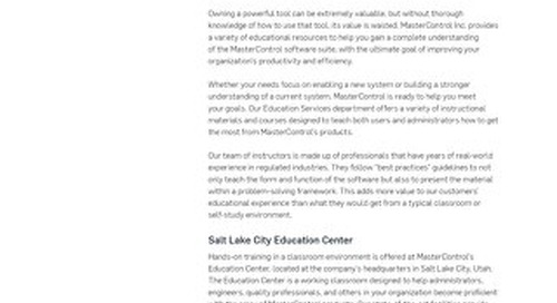 MasterControl Educational Services