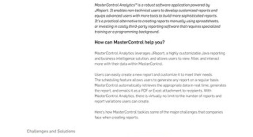 MasterControl Analytics™