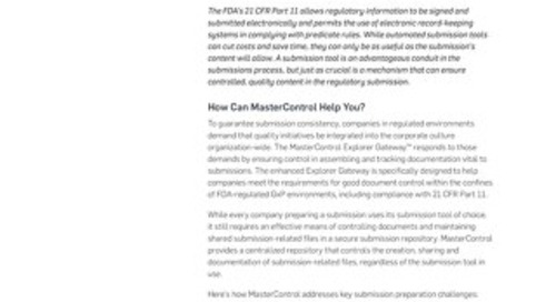 MasterControl Explorer Gateway™