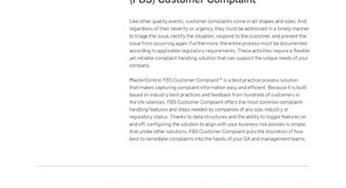 MasterControl Field-Based Solutions (FBS) Customer Complaint™