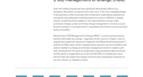 MasterControl Field-Based Solutions (FBS) Management of Change (MOC)™