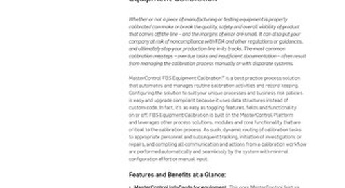 MasterControl Field-Based Solutions (FBS) Equipment Calibration™