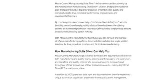 MasterControl Manufacturing Suite Silver™