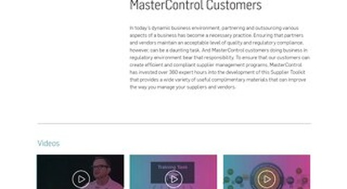 Supplier Toolkit for MasterControl Customers