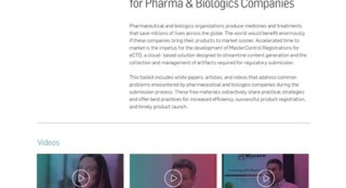 MasterControl Registrations™ Toolkit for Pharma & Biologics Companies
