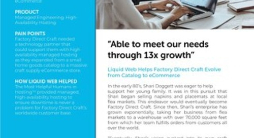 """Able to meet our needs through 13x growth"" - Factory Direct Craft Case Study"