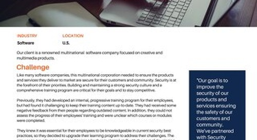 Multinational Software Company Partners with Security Compass to Build Security Culture
