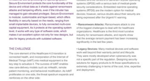 Datasheet: Secure Environment for Connected Health