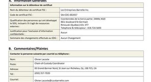 Les Entreprises Barrette Inc-DDS Public Summary-FRE