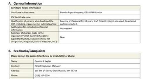 UPM Blandin Canada - DDS Summary