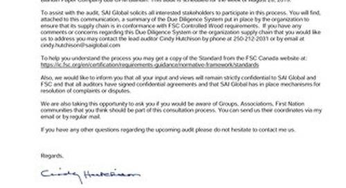 UPM Blandin Canada - Public Notice