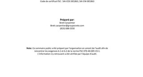 Groupe Crête Inc. DDS Summary FRE
