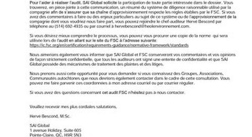 Groupe Crête Inc. FSC CW Audit Public Notice