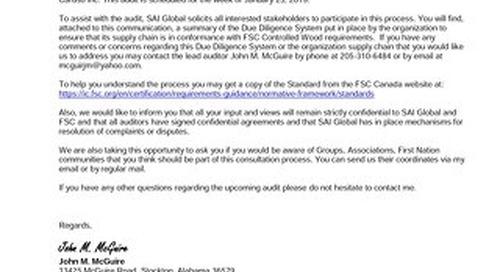 Caruso Inc. - FSC CW Audit Public Notice