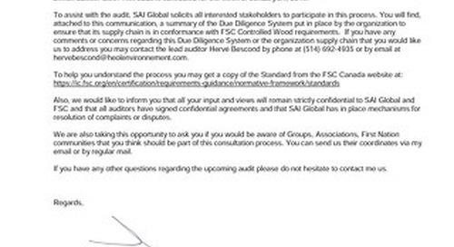 Simon Lussier Ltée-FSC CW audit Public Notice