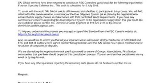 Fortress Specialty Cellulose Inc. - FSC CW Public Notice - Bilingual