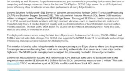 Lenovo Database Configuration for Microsoft SQL Server 2019 on ThinkSystem SE350