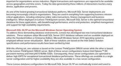 Lenovo Database Configurations for Microsoft SQL Server OLTP High Performance