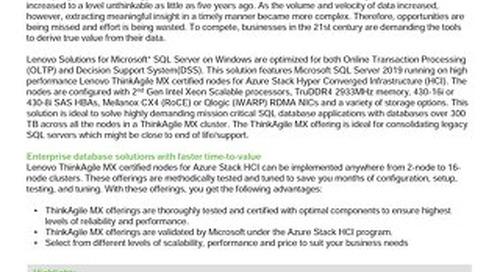 Lenovo Database Configuration for Microsoft SQL Server 2019 on ThinkAgile MX
