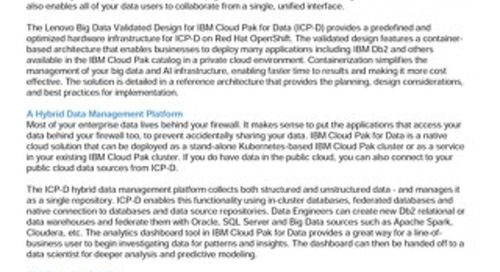 Lenovo Big Data Validated Design for IBM Cloud Pak for Data