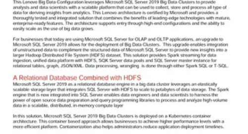 Lenovo Big Data Configuration for Microsoft Big Data Clusters