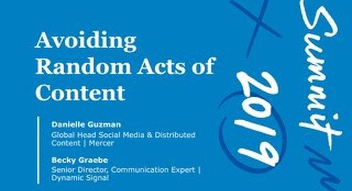 Avoiding Random Acts of Content (Workshop Session)