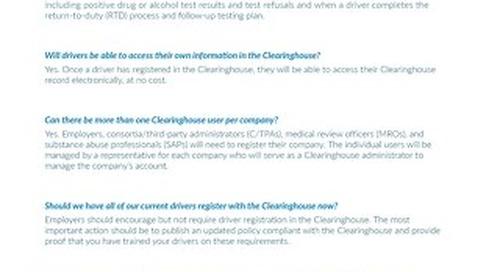 FMCSA Clearinghouse - FAQ