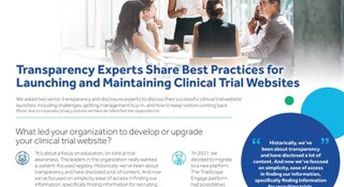 Transparency Experts Share Best Practices for Launching and Maintaining Clinical Trial Websites