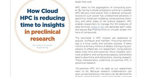 How cloud HPC is reducing time to insights in pre-clinical research