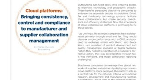 Cloud platforms for manufacturing and supplier management