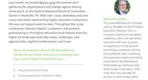 Article: Key Learnings from Blackbaud's Higher Education Executive Summit