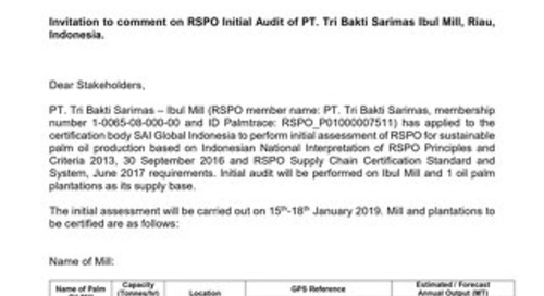Invitation for Comment RSPO Initial Audit of PT Bakti Sarimas Ibul Mill - 11 Dec 2018
