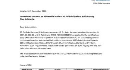 Invitation to comment on RSPO Initial Audit of PT. Tri Bakti Sarimas Bukit Payung, Riau, Indonesia_Jakarta, 10th November 2018