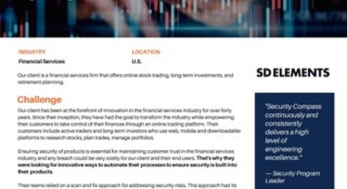 Online Broker Standardizes Secure Software Development Processes