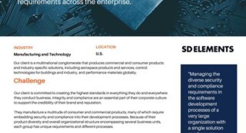 Multinational Conglomerate Implements SD Elements to Improve Software Security and Time to Market