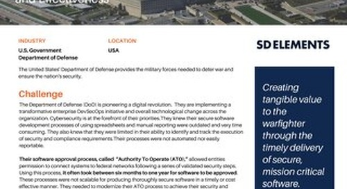 Software Factory Uses SD Elements to Revolutionize Secure Development for the Department of Defense