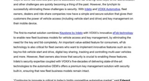 Press Release: Irdeto and VOXX Automotive Bring Simple and Secure Key Management to Fleet Owners