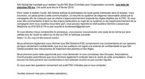 Public Notice - FSC CW audit - Les Bois de Plancher PG Inc.