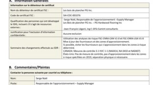 DDS Public Summary - Les Bois de Plancher PG Inc._FR