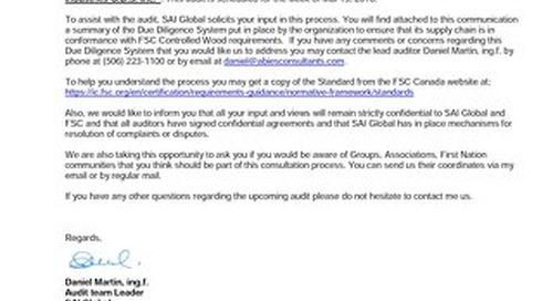 Groupe de Scieries-Public Notice