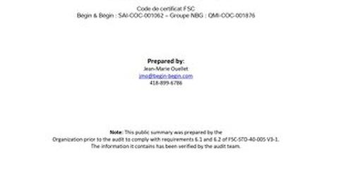 Groupe N.B.G. Inc. - DDS Public Summary