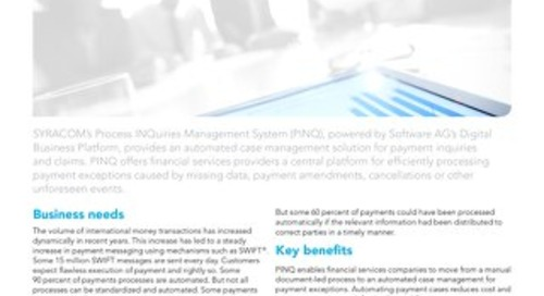 SYRACOM's Process INQuiries Management System powered by Software AG