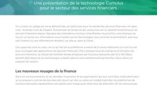 Cumulus Networks : l'open source au service du secteur des services financiers