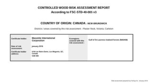 Masonite Controlled Wood Risk Assessment CAN