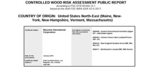 Masonite Controlled Wood Risk Assessment USA